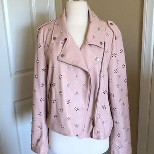BAGATELLE pastel pink leather jacket pearl detail
